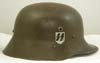 SS-VT (Verfugungstruppe) double decal M17 Austrian shell helmet brown finish