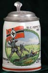 German Army beer stein for the 15. (E) Komp. Infantry Rgt. 42 HOF