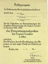 Award document for the Panzertruppenabzeichen der Legion Kondor in Silber