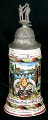 Imperial Army commemorative stein of Musk. Born. of the  7th Komp. Inf. Rgt. Kaiser Wilh. Konig v. Preussen 2. Wurtt. 1908- 1910