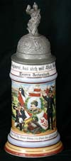 Imperial Army stein of Reservist Dechenbach of the 4th Comp. Inf. Reg. Kaiser Wilhelm 2. res. Grossh. Hess. No. 116. Giessen. 1906-1908
