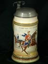 Imperial Army stein for HUSSAREN REGT. VON ZIETEN (BRANDENB) Nr. 3 by Mettlach