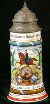 Imperial German Army commemorative stein of Leonhard Fink of the 1. Chev. Rgt. Kaiser Nikolaus v. Russland 5. Esk. Nurnberg 1908-1911