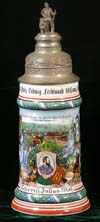 Imperial German stein of Reservist Julius Wolf of the 18. Inft. -Regt. Prinz Ludwig Ferdinand10. Comp.Landau 1904-1906