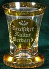 Amber drinking glass Deutscher Kultur Verband and dated 1936