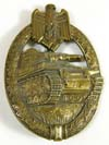 Army/Waffen SS Panzer Assault badge in bronze by Hermann Aurich