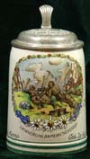 German Army beer stein for 15 M.G. Komp. Gebirgjager Rgt. 137 stationed at SaalFeldena