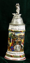 Imperial German Army stein of Rervervist Gefreiter Schumacher of 1. Comp