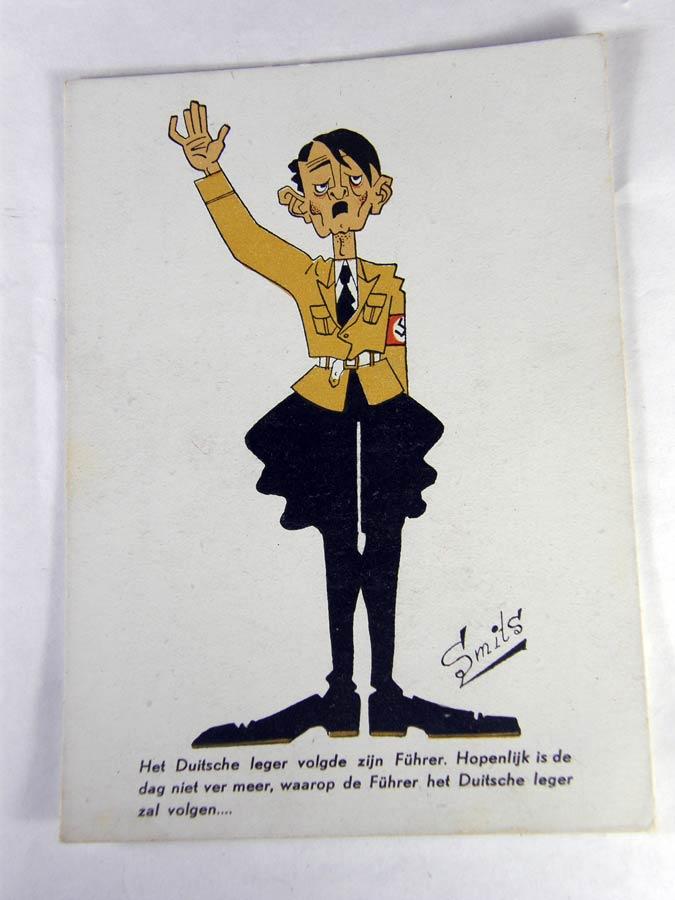 Adolf Hitler cartoon card by Dutch anti- NAZI artist Smits