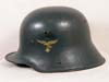 Luftwaffe double decal M18 transitional helmet shell with early droop-tail eagle