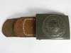 Army belt buckle  with leather tab