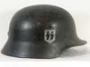 Waffen SS M40 combat helmet with hand-painted SS runics by Quist