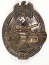Army /Waffen SS Panzer Assault Badge in bronze for 25 engagements by Gustav Brehmer