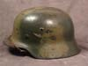 Rare Luftwaffe M35 double decal combat helmet featuring a 1st pattern Luftwaffe eagle