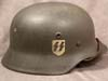 Waffen SS M40 single decal combat helmet by Quist stamped DN