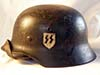 Waffen SS Foreign Volunteer M40 combat helmet with hand-painted runics and party shields by NS