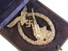 Luftwaffe Flak badge ( Flakkampfabzeichen ) by C.E. Juncker, cased