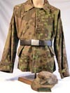 Waffen SS 1st model Plain tree  camouflage smock converted to combat field jacket and plain tree M42 cap