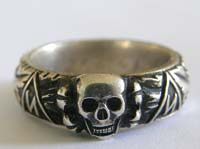Rare mint SS Totenkopfring ( Honor Ring) of SS officer Stange dated 21.6.43